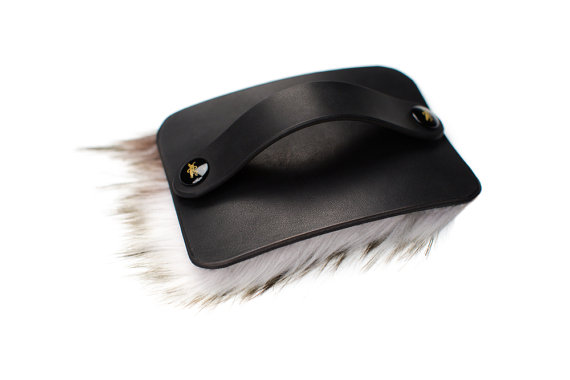 Hand of Praise - Black Leather - Faux Fur - Creme - Ebony Fasteners
